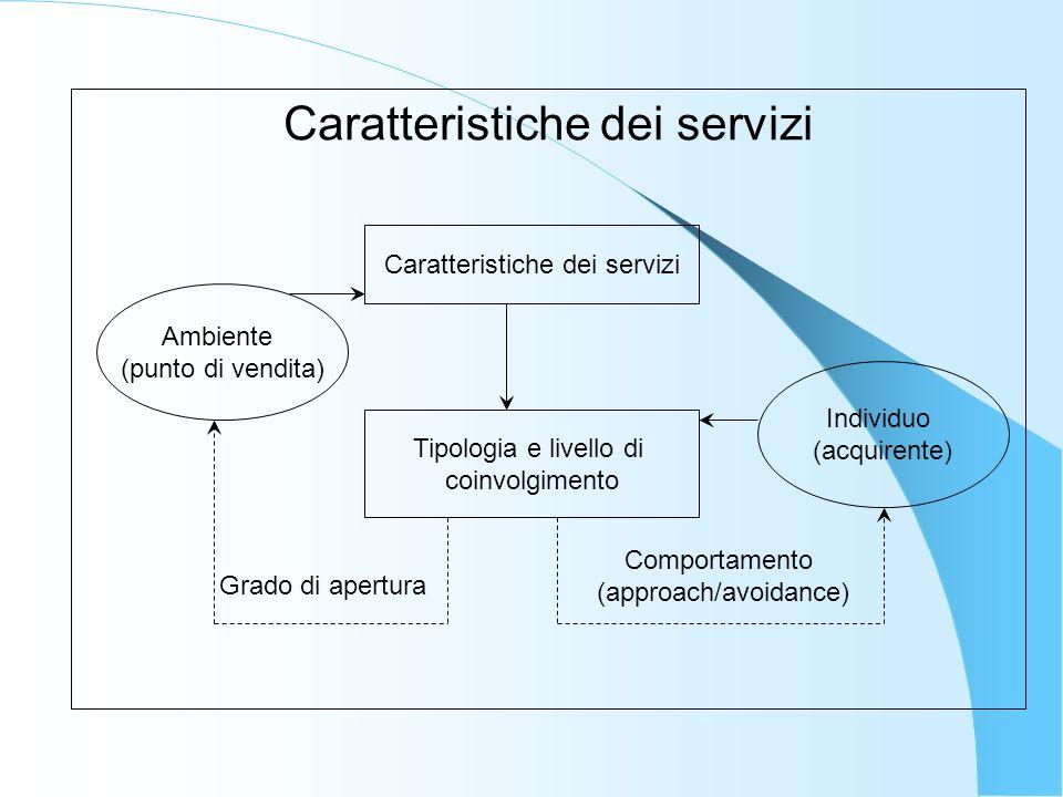 Ambiente (punto di vendita) Individuo (acquirente) Caratteristiche dei servizi Tipologia e livello di coinvolgimento Grado di apertura Comportamento (approach/avoidance)