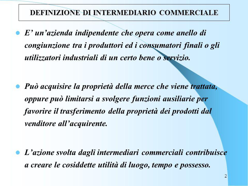 2 DEFINIZIONE DI INTERMEDIARIO COMMERCIALE E unazienda indipendente che opera come anello di congiunzione tra i produttori ed i consumatori finali o gli utilizzatori industriali di un certo bene o servizio.