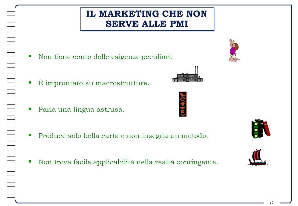 9 CARATTERISTICHE DELLE PMI ITALIANE E IMPATTO SUL MARKETING Centralità della figura dellimprenditore-proprietario. Orientamento tecnico-produttivo. A