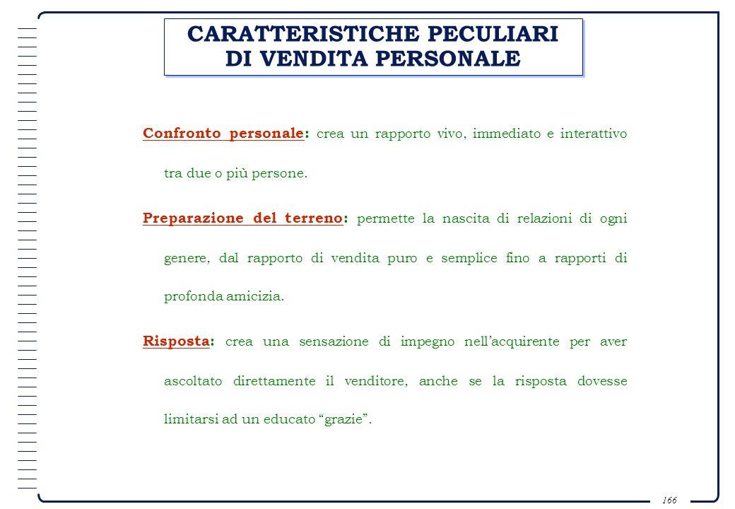 165 CARATTERISTICHE PECULIARI DELLA PUBBLICITÀ Presentazione pubblica : lofferta è standardizzata e diretta alla massa del pubblico. Persuasività: è u