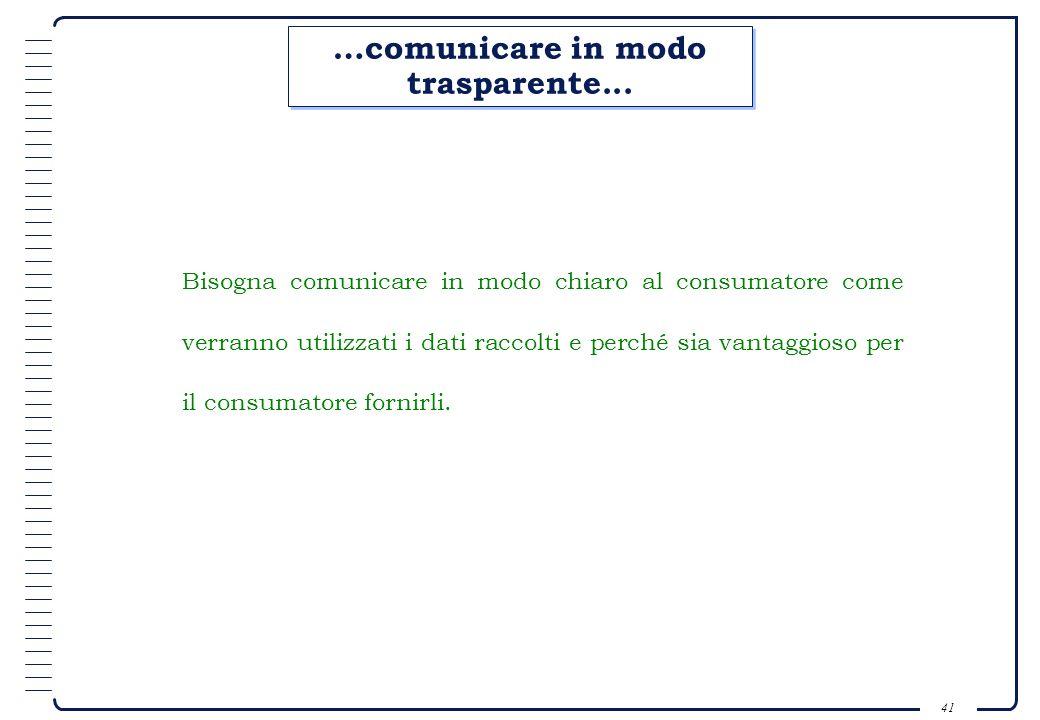 40 Uninformazione; Una promozione; Uno sconto; Una prova duso; Un regalo. Permesso : Comunicazione propri dati; Autorizzazione allutilizzo dei stessi.