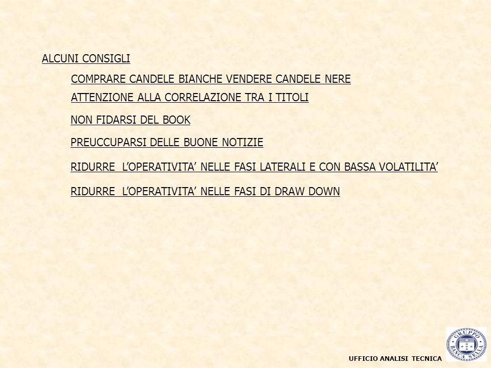 UFFICIO ANALISI TECNICA Grafico a candele giornaliere maggio 2003 - marzo 2004 COMPRARE CANDELE BIANCHE VENDERE CANDELE NERE ALCUNI CONSIGLI PREUCCUPA