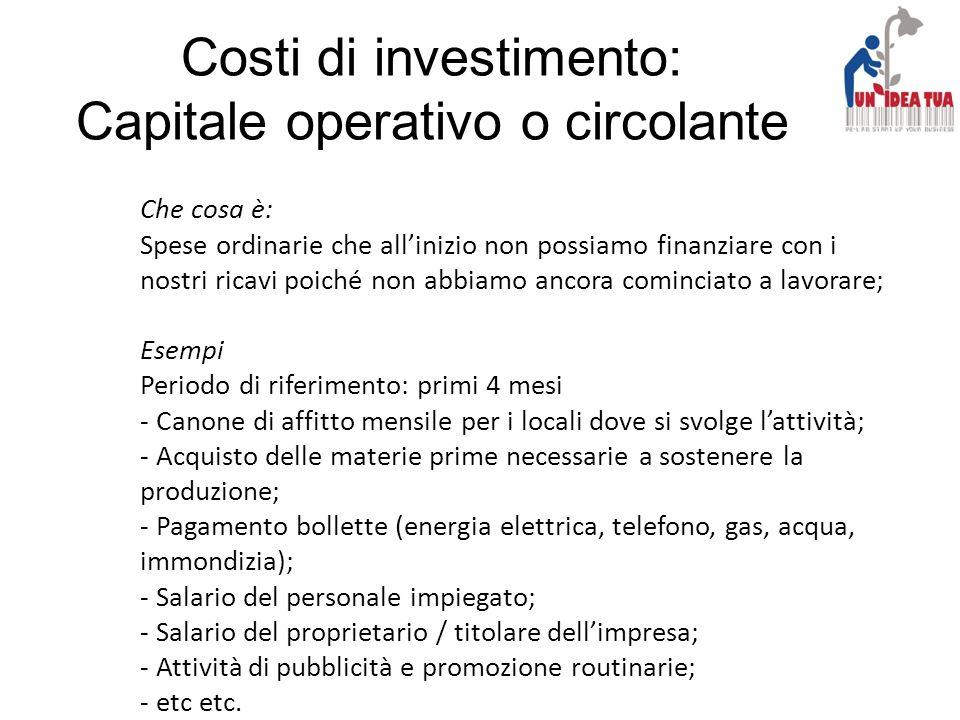 Costi di investimento: Capitale operativo o circolante Che cosa è: Spese ordinarie che allinizio non possiamo finanziare con i nostri ricavi poiché no