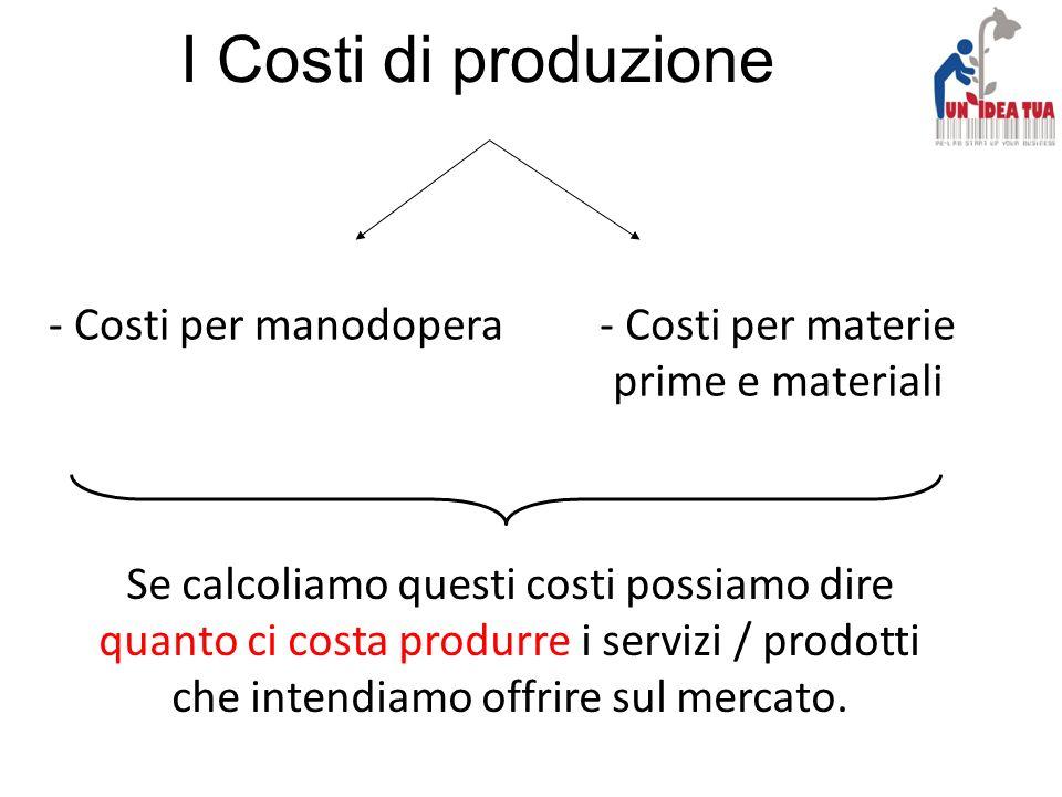 I Costi di produzione - Costi per manodopera- Costi per materie prime e materiali Se calcoliamo questi costi possiamo dire quanto ci costa produrre i