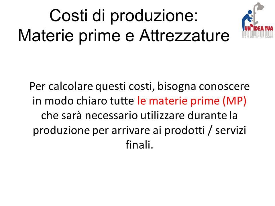 Costi di produzione: Materie prime e Attrezzature Per calcolare questi costi, bisogna conoscere in modo chiaro tutte le materie prime (MP) che sarà ne