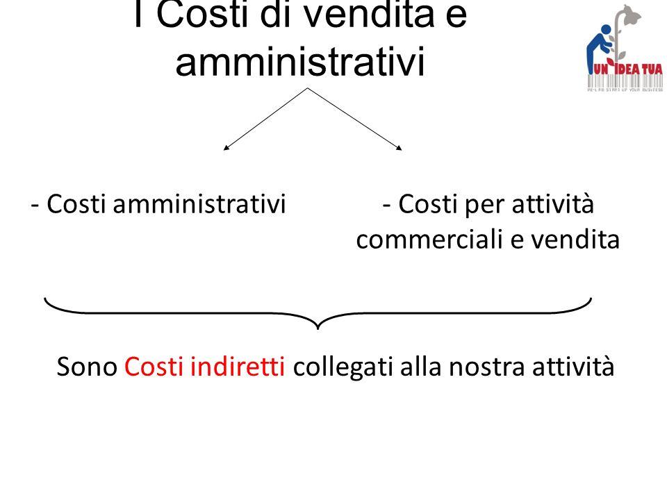 I Costi di vendita e amministrativi - Costi amministrativi- Costi per attività commerciali e vendita Sono Costi indiretti collegati alla nostra attivi