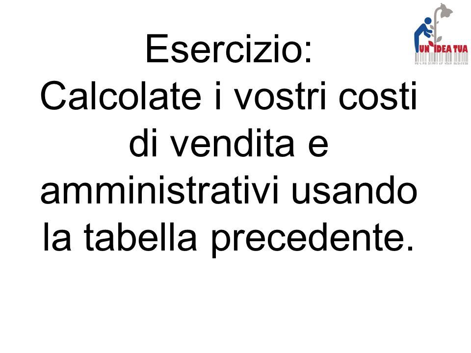 Esercizio: Calcolate i vostri costi di vendita e amministrativi usando la tabella precedente.