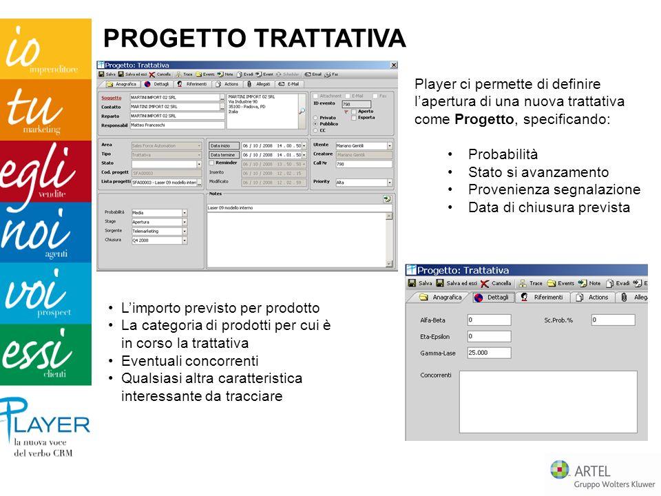Player ci permette di definire lapertura di una nuova trattativa come Progetto, specificando: Probabilità Stato si avanzamento Provenienza segnalazion