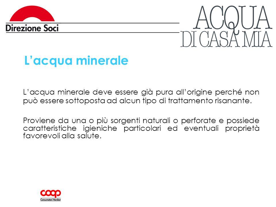 Lacqua minerale Lacqua minerale deve essere già pura allorigine perché non può essere sottoposta ad alcun tipo di trattamento risanante. Proviene da u