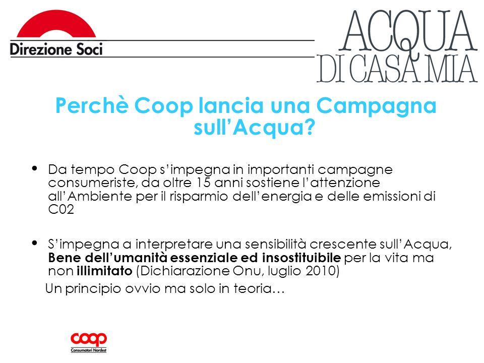 Perchè Coop lancia una Campagna sullAcqua? Da tempo Coop simpegna in importanti campagne consumeriste, da oltre 15 anni sostiene lattenzione allAmbien