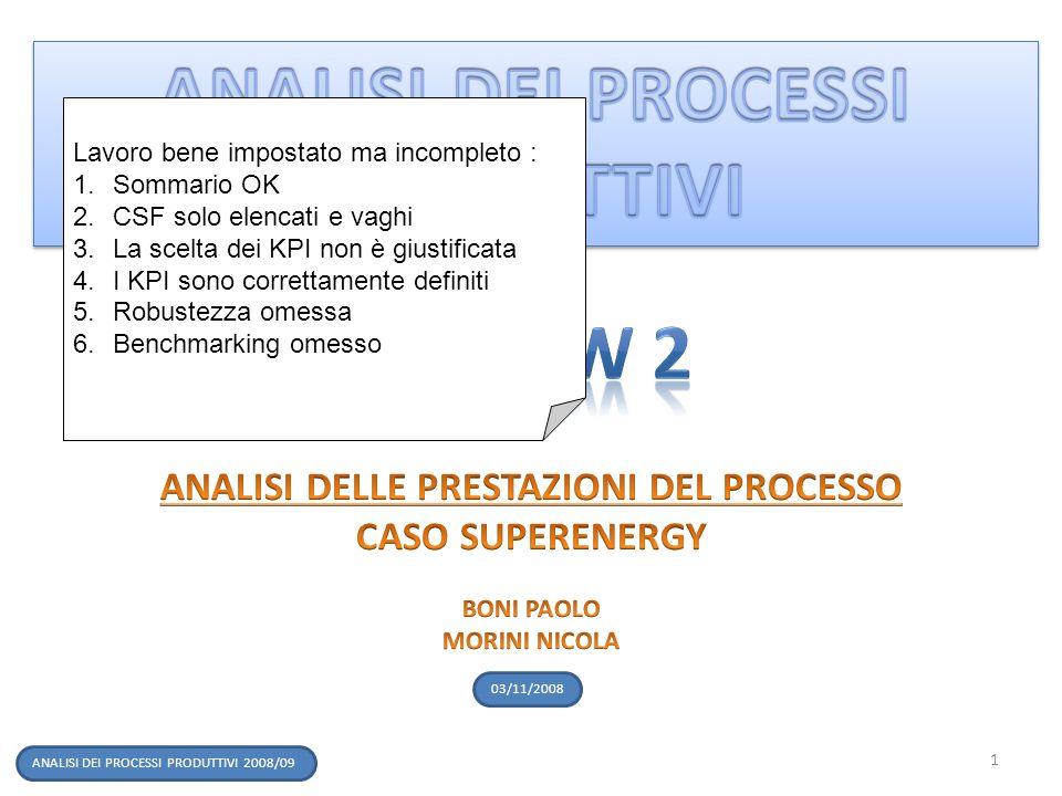 ANALISI DEI PROCESSI PRODUTTIVI 2008/09 03/11/2008 1 Lavoro bene impostato ma incompleto : 1.Sommario OK 2.CSF solo elencati e vaghi 3.La scelta dei K