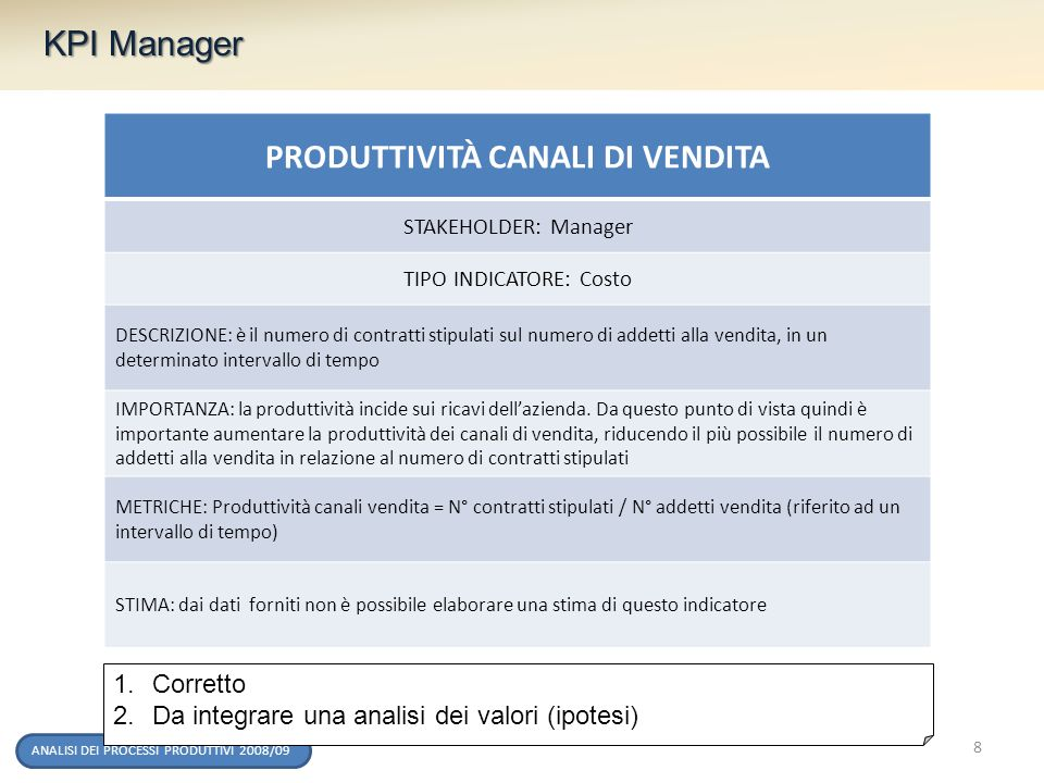 ANALISI DEI PROCESSI PRODUTTIVI 2008/09 KPI Manager PRODUTTIVITÀ CANALI DI VENDITA STAKEHOLDER: Manager TIPO INDICATORE: Costo DESCRIZIONE: è il numer