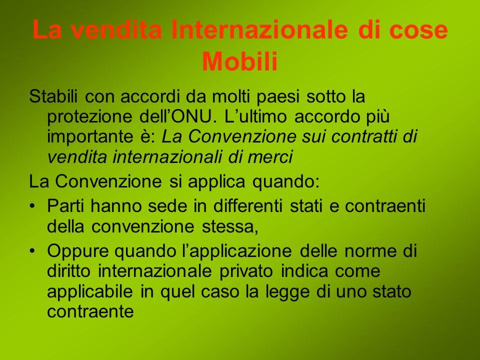 La vendita Internazionale di cose Mobili Stabili con accordi da molti paesi sotto la protezione dellONU.