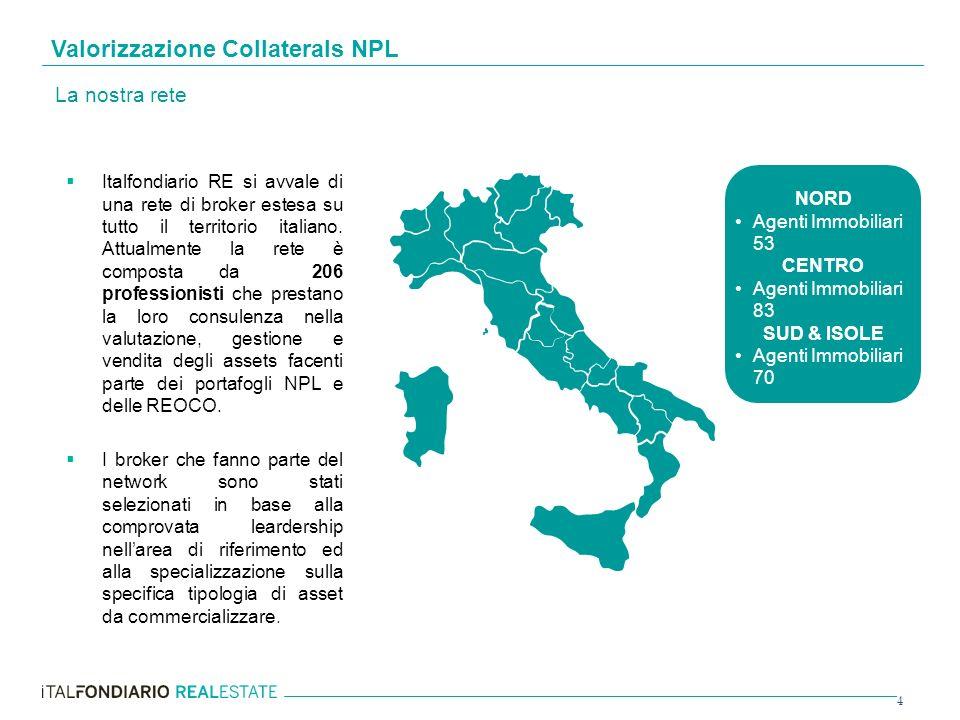 4 Italfondiario RE si avvale di una rete di broker estesa su tutto il territorio italiano. Attualmente la rete è composta da 206 professionisti che pr