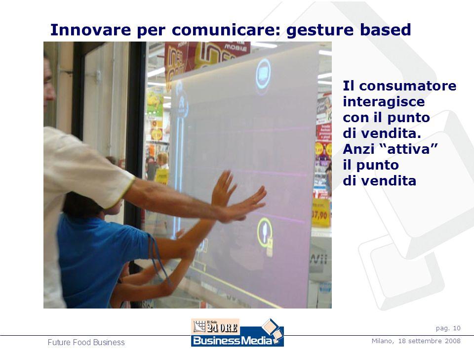 pag. 10 Milano, 18 settembre 2008 Future Food Business Innovare per comunicare: gesture based Il consumatore interagisce con il punto di vendita. Anzi
