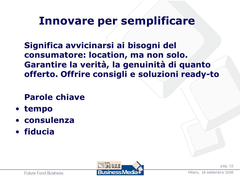 pag. 12 Milano, 18 settembre 2008 Future Food Business Innovare per semplificare Significa avvicinarsi ai bisogni del consumatore: location, ma non so