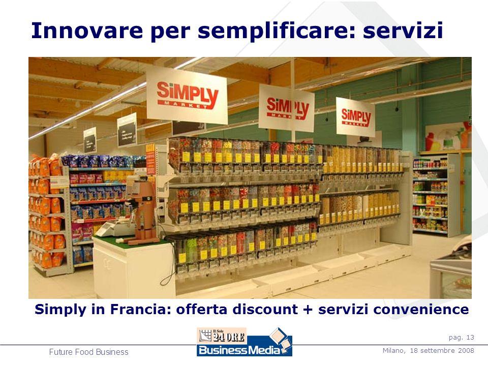 pag. 13 Milano, 18 settembre 2008 Future Food Business Innovare per semplificare: servizi Simply in Francia: offerta discount + servizi convenience