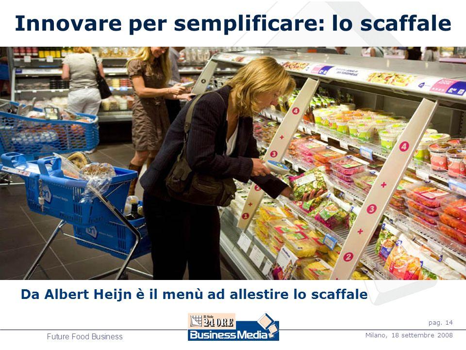 pag. 14 Milano, 18 settembre 2008 Future Food Business Innovare per semplificare: lo scaffale Da Albert Heijn è il menù ad allestire lo scaffale