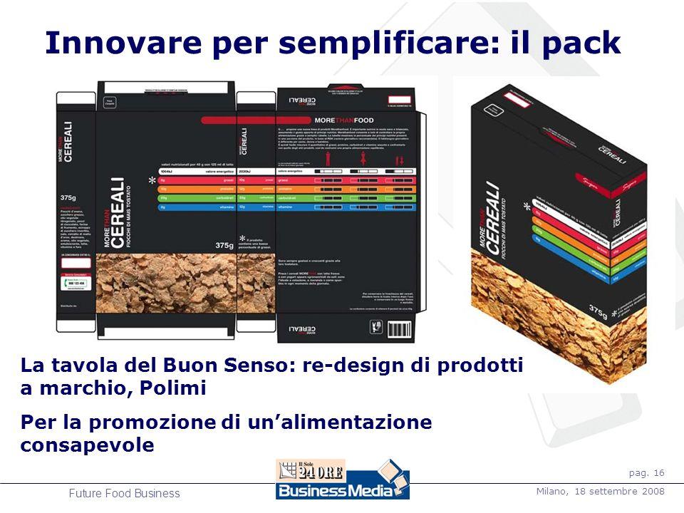 pag. 16 Milano, 18 settembre 2008 Future Food Business La tavola del Buon Senso: re-design di prodotti a marchio, Polimi Per la promozione di unalimen