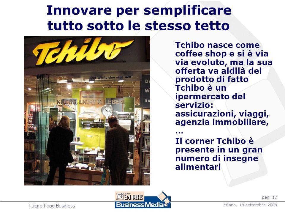 pag. 17 Milano, 18 settembre 2008 Future Food Business Innovare per semplificare tutto sotto le stesso tetto Tchibo nasce come coffee shop e si è via