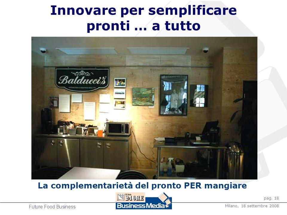 pag. 18 Milano, 18 settembre 2008 Future Food Business La complementarietà del pronto PER mangiare Innovare per semplificare pronti … a tutto