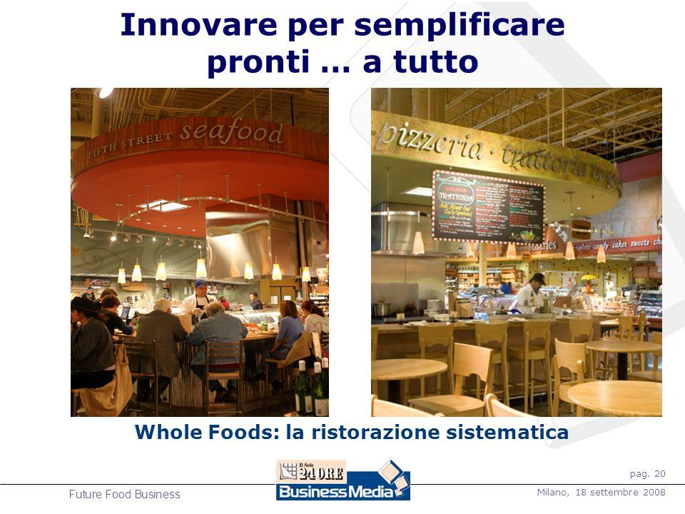 pag. 20 Milano, 18 settembre 2008 Future Food Business Innovare per semplificare pronti … a tutto Whole Foods: la ristorazione sistematica