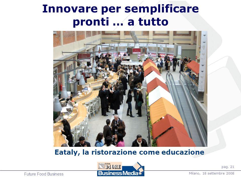 pag. 21 Milano, 18 settembre 2008 Future Food Business Innovare per semplificare pronti … a tutto Eataly, la ristorazione come educazione