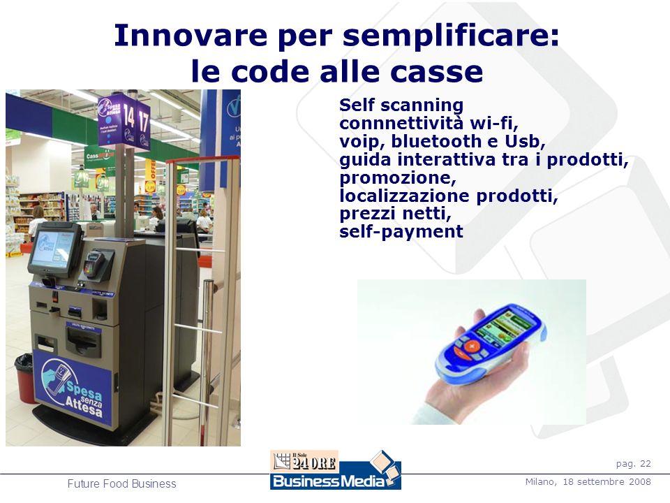 pag. 22 Milano, 18 settembre 2008 Future Food Business Self scanning connnettività wi-fi, voip, bluetooth e Usb, guida interattiva tra i prodotti, pro