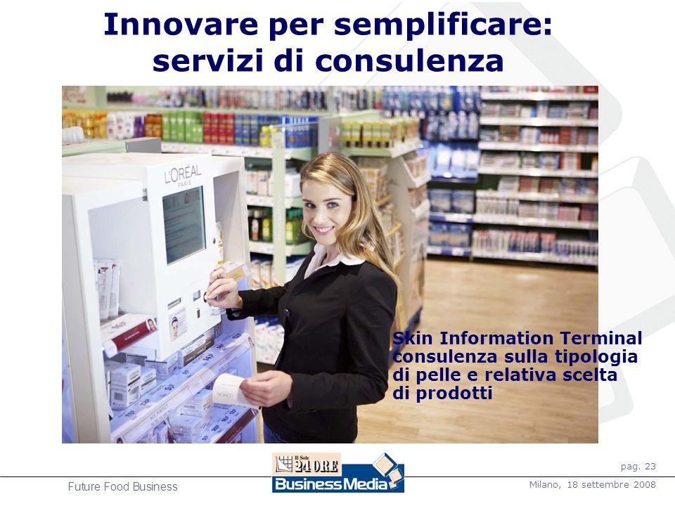 pag. 23 Milano, 18 settembre 2008 Future Food Business Innovare per semplificare: servizi di consulenza Skin Information Terminal consulenza sulla tip