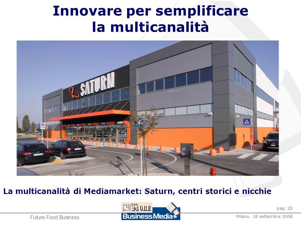 pag. 25 Milano, 18 settembre 2008 Future Food Business La multicanalità di Mediamarket: Saturn, centri storici e nicchie Innovare per semplificare la