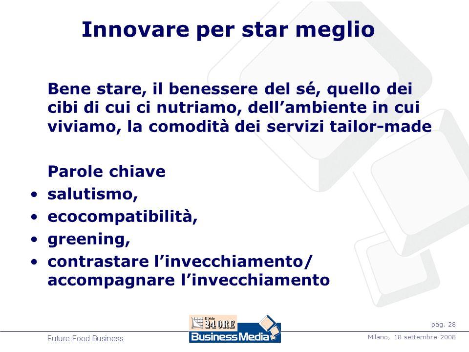 pag. 28 Milano, 18 settembre 2008 Future Food Business Innovare per star meglio Bene stare, il benessere del sé, quello dei cibi di cui ci nutriamo, d