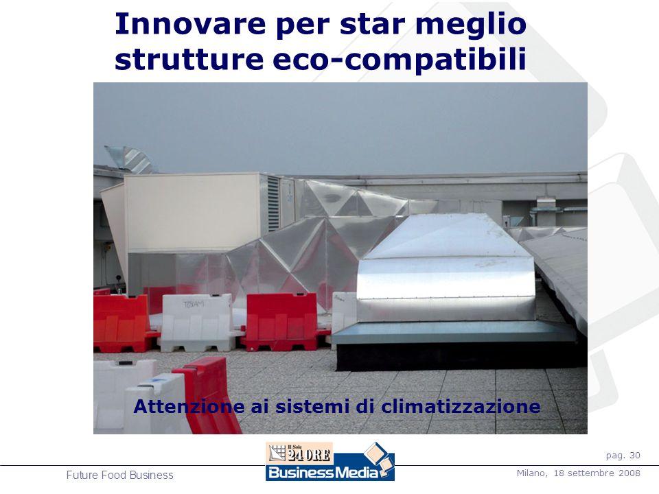 pag. 30 Milano, 18 settembre 2008 Future Food Business Innovare per star meglio strutture eco-compatibili Attenzione ai sistemi di climatizzazione