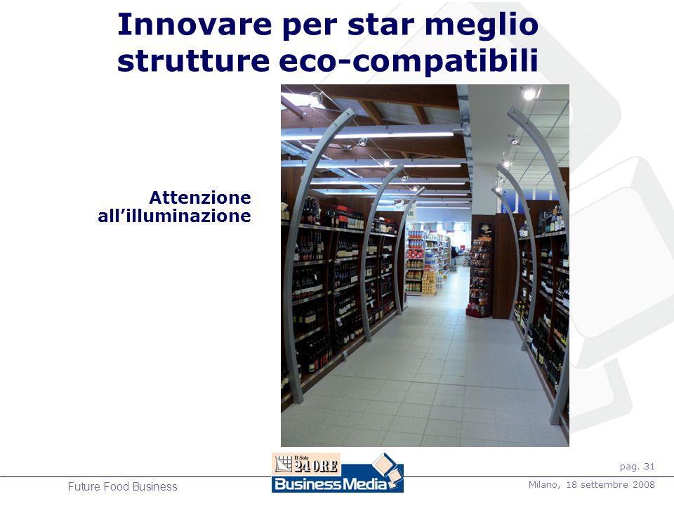 pag. 31 Milano, 18 settembre 2008 Future Food Business Innovare per star meglio strutture eco-compatibili Attenzione allilluminazione