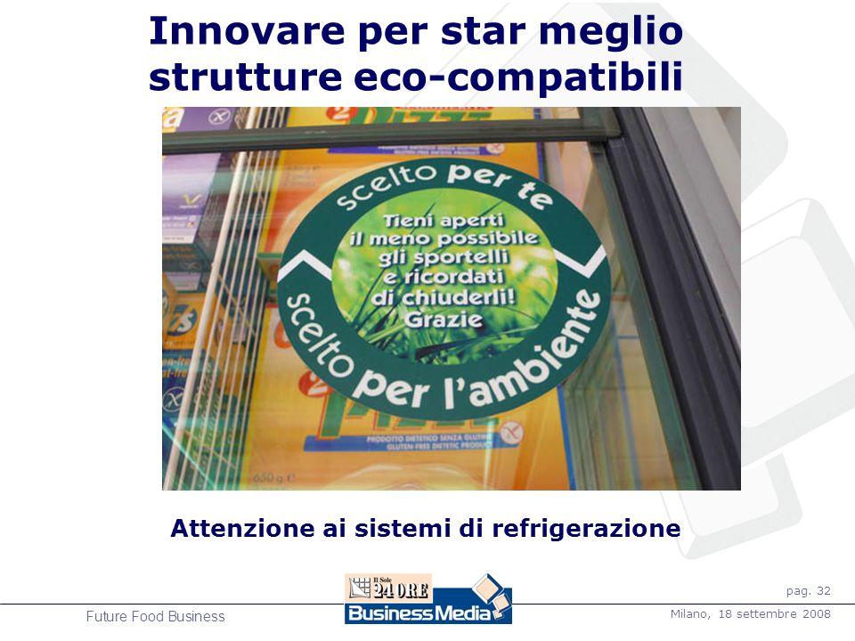 pag. 32 Milano, 18 settembre 2008 Future Food Business Innovare per star meglio strutture eco-compatibili Attenzione ai sistemi di refrigerazione