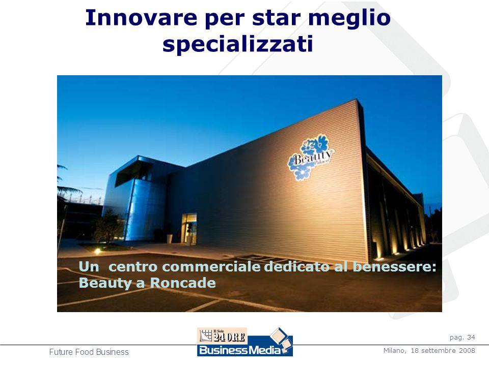 pag. 34 Milano, 18 settembre 2008 Future Food Business Innovare per star meglio specializzati Un centro commerciale dedicato al benessere: Beauty a Ro