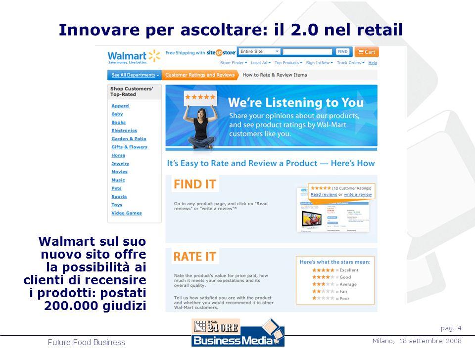 pag. 4 Milano, 18 settembre 2008 Future Food Business Innovare per ascoltare: il 2.0 nel retail Walmart sul suo nuovo sito offre la possibilità ai cli