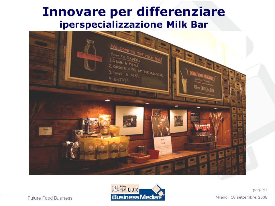 pag. 41 Milano, 18 settembre 2008 Future Food Business Innovare per differenziare iperspecializzazione Milk Bar