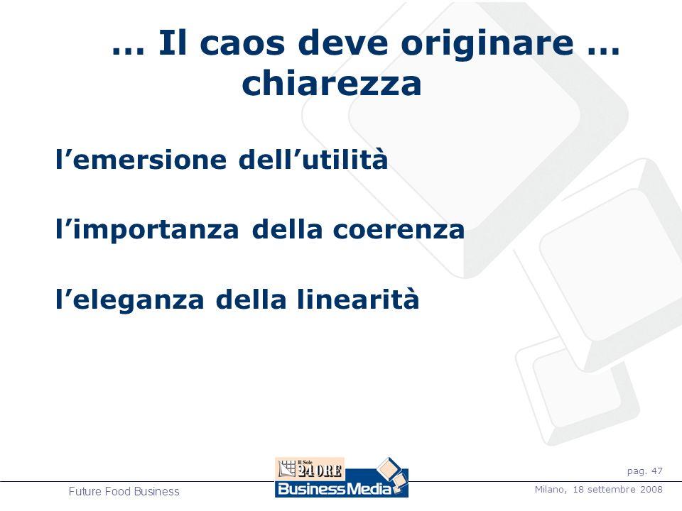 pag. 47 Milano, 18 settembre 2008 Future Food Business … Il caos deve originare … chiarezza lemersione dellutilità limportanza della coerenza leleganz