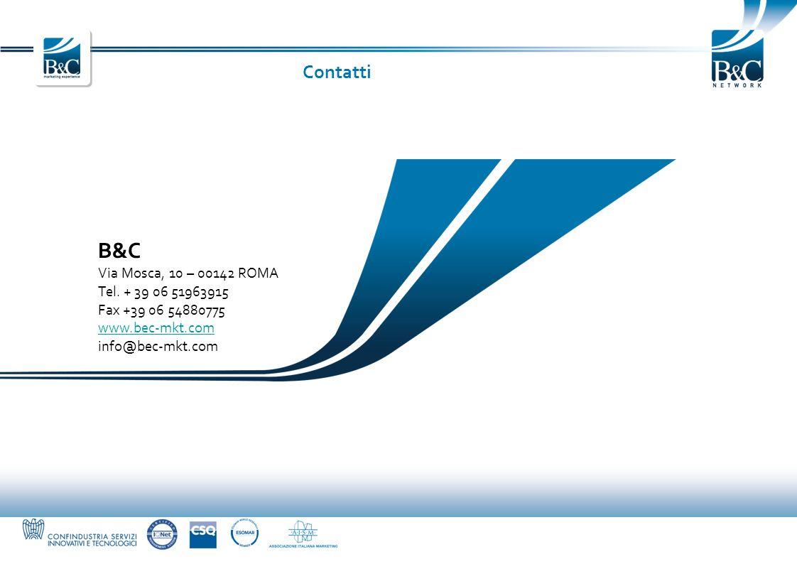 B&C Via Mosca, 10 – 00142 ROMA Tel. + 39 06 51963915 Fax +39 06 54880775 www.bec-mkt.com info@bec-mkt.com Contatti