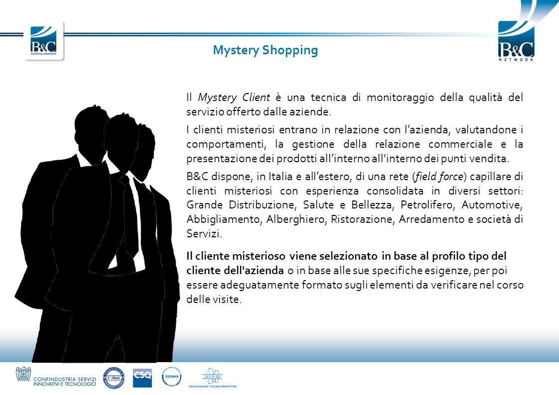 Mystery Shopping Il Mystery Client è una tecnica di monitoraggio della qualità del servizio offerto dalle aziende. I clienti misteriosi entrano in rel
