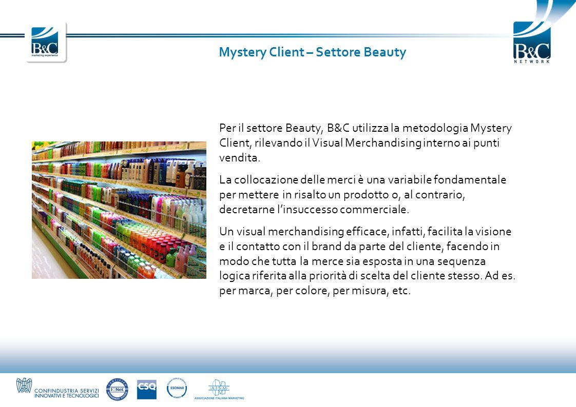 Mystery Client – Settore Beauty Per il settore Beauty, B&C utilizza la metodologia Mystery Client, rilevando il Visual Merchandising interno ai punti