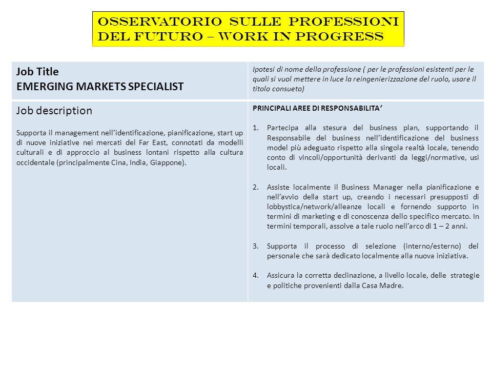 Job Title EMERGING MARKETS SPECIALIST Ipotesi di nome della professione ( per le professioni esistenti per le quali si vuol mettere in luce la reingen
