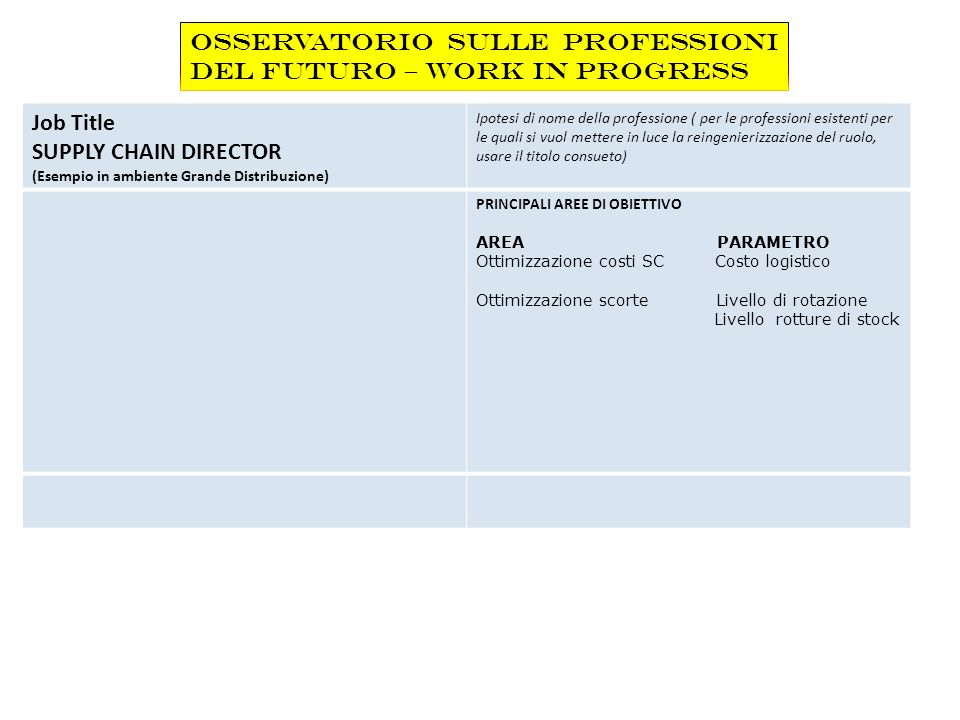 Job Title SUPPLY CHAIN DIRECTOR (Esempio in ambiente Grande Distribuzione) Ipotesi di nome della professione ( per le professioni esistenti per le qua