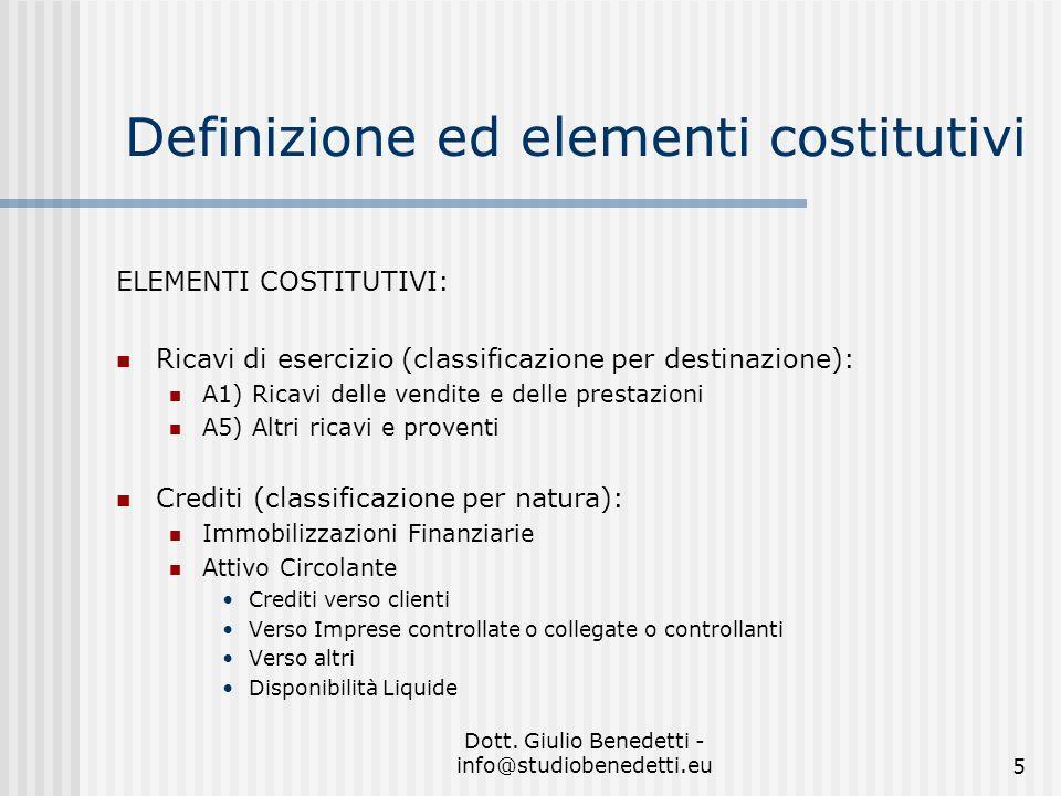 Dott. Giulio Benedetti - info@studiobenedetti.eu5 Definizione ed elementi costitutivi ELEMENTI COSTITUTIVI: Ricavi di esercizio (classificazione per d