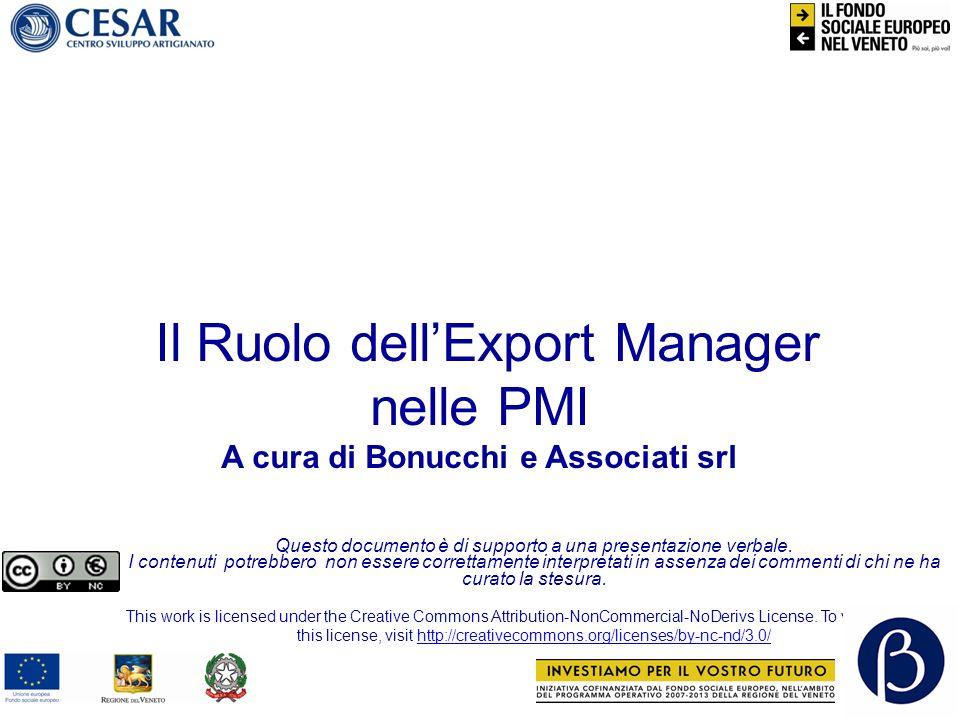 Il Ruolo dellExport Manager nelle PMI 12 Competenze dellExport Manager (lexport manager deve inoltre) Avere Cultura personale (Lingue, Bon Ton, X-Culturale) Possedere apertura mentale Essere tecnicamente e professionalmente preparato