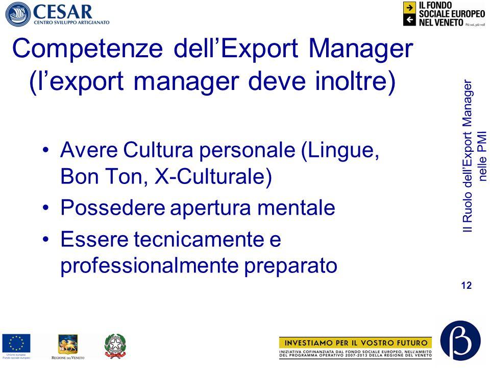 Il Ruolo dellExport Manager nelle PMI 12 Competenze dellExport Manager (lexport manager deve inoltre) Avere Cultura personale (Lingue, Bon Ton, X-Cult