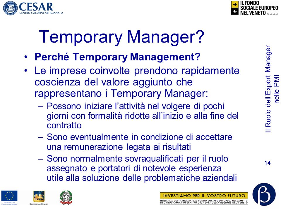 Il Ruolo dellExport Manager nelle PMI 14 Temporary Manager? Perché Temporary Management? Le imprese coinvolte prendono rapidamente coscienza del valor