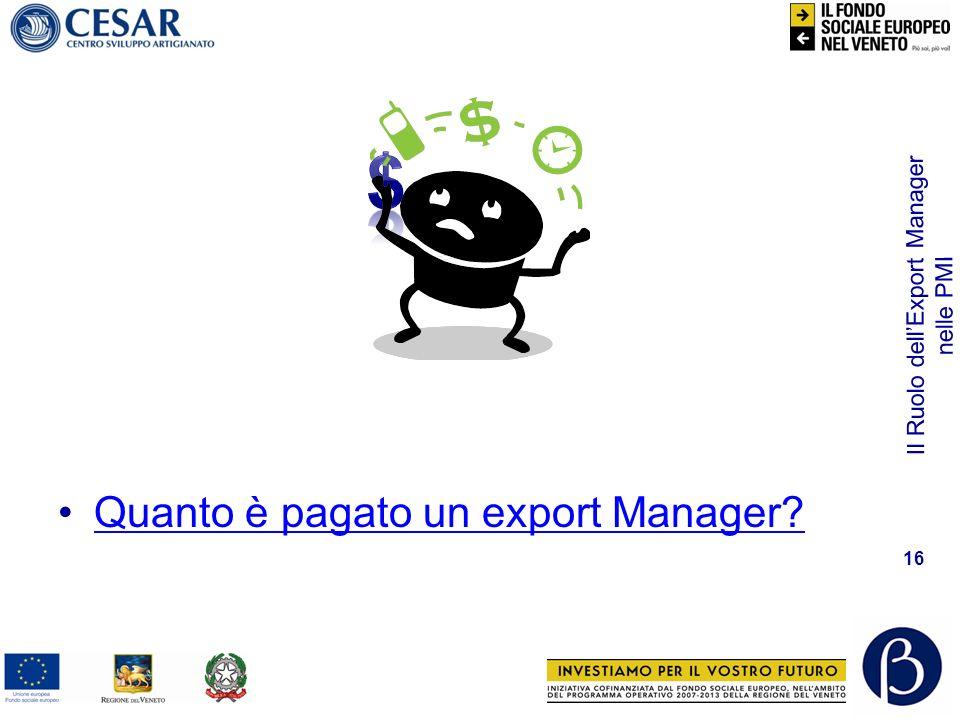 Il Ruolo dellExport Manager nelle PMI 16 Quanto è pagato un export Manager?