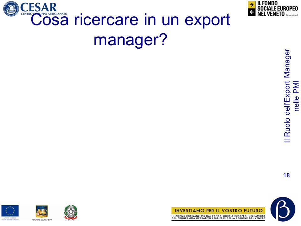 Il Ruolo dellExport Manager nelle PMI 18 Cosa ricercare in un export manager?