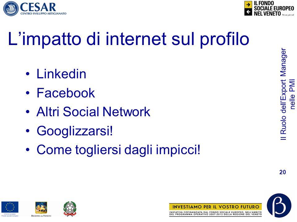 Il Ruolo dellExport Manager nelle PMI 20 Limpatto di internet sul profilo Linkedin Facebook Altri Social Network Googlizzarsi! Come togliersi dagli im